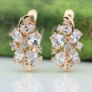 Earrings White Cubic Zirconia 585 Rose Gold Plated